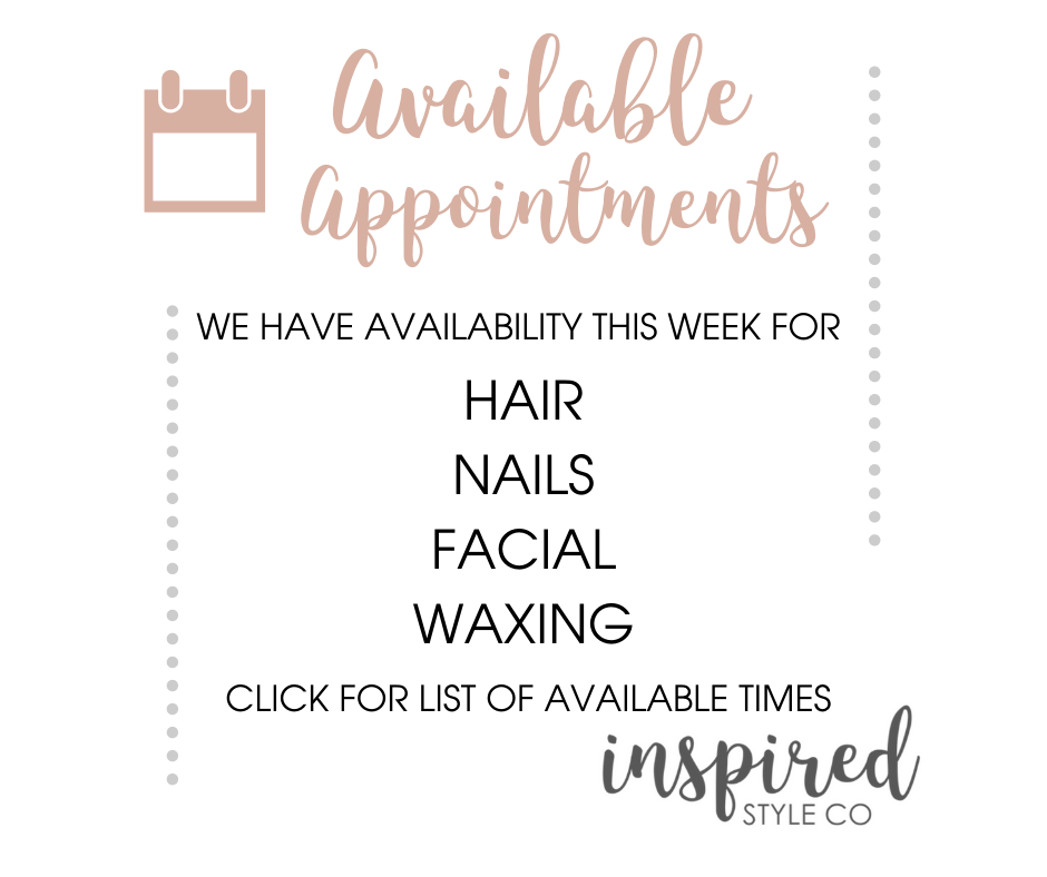 Appointments Available Week of January13th